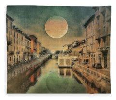 Moon Over The Canal Fleece Blanket