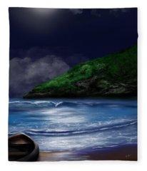 Moon Over The Cove Fleece Blanket
