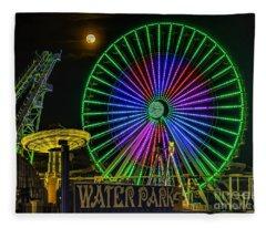 Moon Over The Ferris Wheel Fleece Blanket