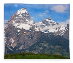 Moon Over The Tetons Fleece Blanket