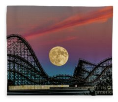 Moon Over Wildwood Nj Fleece Blanket
