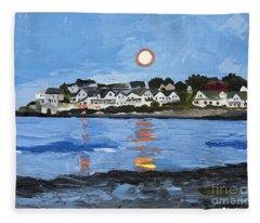 Moon Over York Beach Fleece Blanket