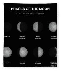 Moon Phases Southern Hemisphere Fleece Blanket
