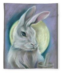 Moon Rabbit Fleece Blanket