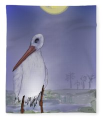 Moon Rise Becomes A Stork Fleece Blanket