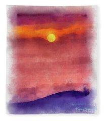 Moon Rise In Aquarelle Fleece Blanket