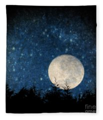 Moon, Tree And Stars Fleece Blanket