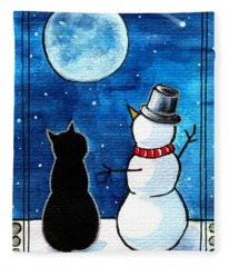 Moon Watching With Snowman - Christmas Cat Fleece Blanket