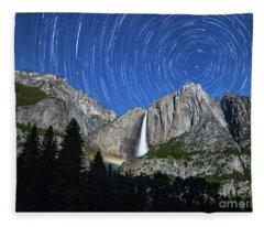 Moonbow And Startrails  Fleece Blanket