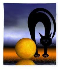 Mooncat's Play With The Fullmoon Fleece Blanket