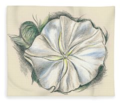 Moonflower Mixed Media Drawing Fleece Blanket