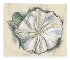 Moonflower Mixed Media Drawing Fleece Blanket