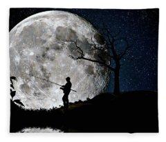 Moonlight Fishing Under The Supermoon At Night Fleece Blanket