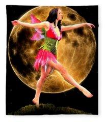 Moonlight Stroll Of A Fairy Fleece Blanket