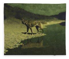 Moonlight, Wolf Fleece Blanket