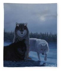Moonlight Wolves Fleece Blanket