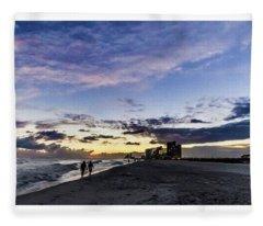 Moonlit Beach Sunset Seascape 0272b1 Fleece Blanket