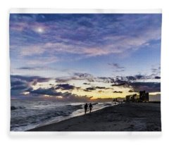 Moonlit Beach Sunset Seascape 0272b1 Fleece Blanket