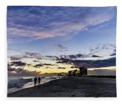 Moonlit Beach Sunset Seascape 0272c Fleece Blanket