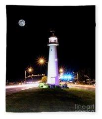 Moonlit Gulf Coast Lighthouse Seascape Biloxi Ms 4256b Fleece Blanket