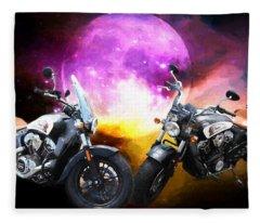 Moonlit Indian Motorcycle Fleece Blanket