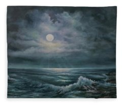 Moonlit Seascape Fleece Blanket