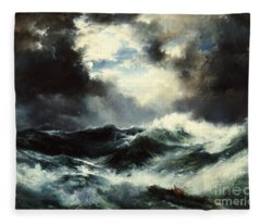 Moonlit Shipwreck At Sea Fleece Blanket