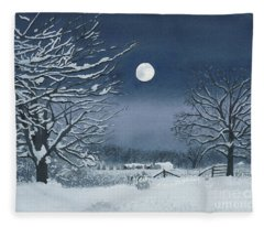Moonlit Snowy Scene On The Farm Fleece Blanket