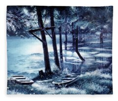 Moonlite On Village Creek Fleece Blanket