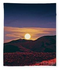 Moonrise In Northern New Mexico  Fleece Blanket