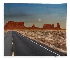 Moonrise Over Monument Valley Fleece Blanket
