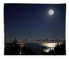 Moonshine Over English Bay Fleece Blanket