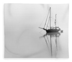 Moored On A Foggy Day Fleece Blanket