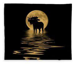 Moose In The Moonlight Fleece Blanket