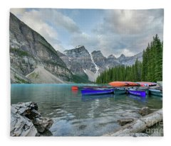 Moraine Logs And Canoes Fleece Blanket