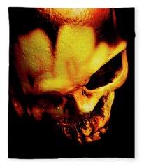Morbid Decaying Skull Fleece Blanket