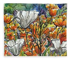 More California Poppies Fleece Blanket