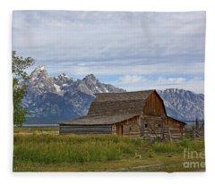 Mormon Row Barn And Grand Tetons Fleece Blanket
