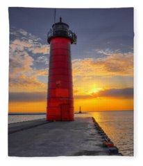 Morning At The Kenosha Lighthouse Fleece Blanket