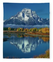 Morning Cloud Layer Oxbow Bend In Fall Grand Tetons National Park Fleece Blanket