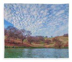 Morning Clouds Over Shoreline Fleece Blanket