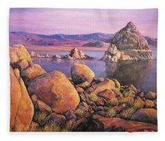 Morning Colors At Lake Pyramid Fleece Blanket