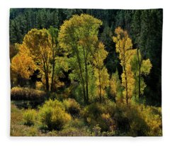 Morning Cottonwoods Fleece Blanket