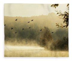 Morning Fog On Haley Pond In Rangeley Maine Fleece Blanket