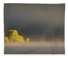 Morning Fog On Jackson Lake Grand Teton National Park  Fleece Blanket