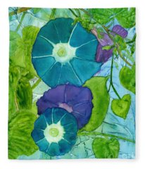 Morning Glories In Watercolor On Yupo Fleece Blanket
