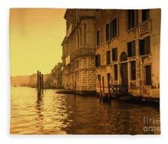 Morning In Venice Sepia Fleece Blanket