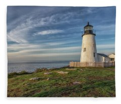 Morning Light At Pemaquid Point Fleece Blanket