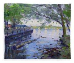 Morning Light By The River Fleece Blanket
