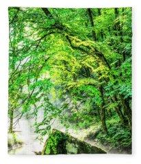 Morning Light In The Forest Fleece Blanket